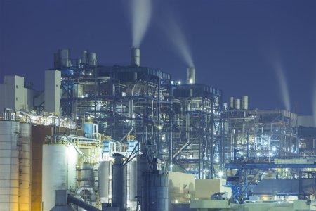 Power plant smoke at night