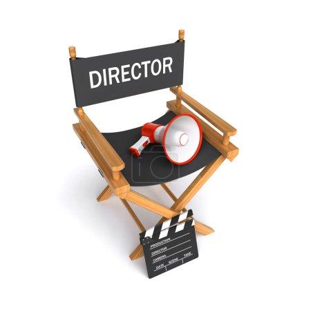 Photo pour 3d rendu d'une chaise de réalisateur de film avec un applaudisseur et megphone le fond blanc - image libre de droit