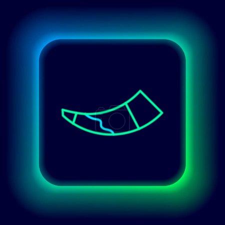 Illustration pour Ligne lumineuse néon Icône de corne de chasse isolé sur fond noir. Concept de contour coloré. Vecteur - image libre de droit