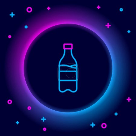 Illustration for Glowing neon line Sport bottle with water icon isolated on black background. Colorful outline concept. Vector - Royalty Free Image