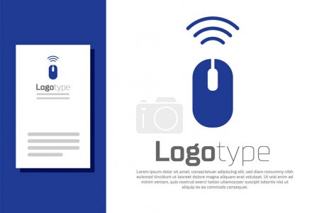 Illustration pour Blue Wireless icône du système de souris d'ordinateur isolé sur fond blanc. Concept d'Internet des objets avec connexion sans fil. Modèle de conception de logo élément. Vecteur. - image libre de droit