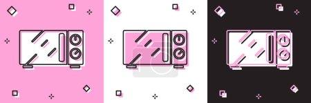 Illustration pour Ensemble Four à micro-ondes icône isolée sur fond rose et blanc, noir. Icône des appareils ménagers. Vecteur. - image libre de droit