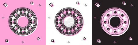 Illustration for Set Bicycle ball bearing icon isolated on pink and white, black background. Vector. - Royalty Free Image