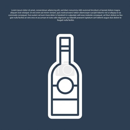 Illustration pour Ligne bleue Bouteille en verre de vodka icône isolée sur fond bleu. Vecteur. - image libre de droit