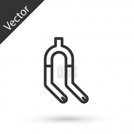 Illustration for Grey line Bicycle suspension fork icon isolated on white background. Sport transportation spare part steering wheel. Vector. - Royalty Free Image