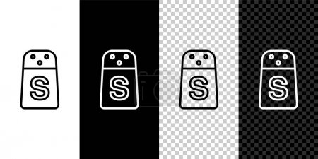 Illustration for Set line Salt icon isolated on black and white, transparent background. Cooking spices. Vector. - Royalty Free Image