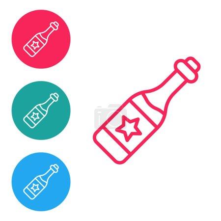 Illustration pour Icône bouteille de champagne ligne rouge isolé sur fond blanc. Joyeux Noël et bonne année. Définir des icônes dans les boutons cercle. Vecteur. - image libre de droit