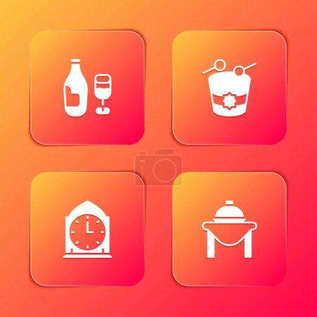 Illustration pour Set Bouteille de vin avec verre, tambour Ramadan, Horloge et icône de la nourriture de table. Vecteur. - image libre de droit