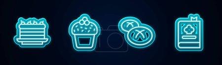 Illustration pour Définir la ligne Gâteau,, pain pain et livre de cuisine. Icône lumineuse au néon. Vecteur. - image libre de droit