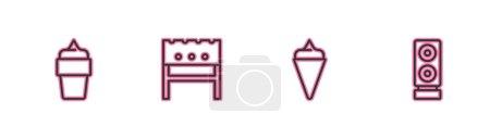 Illustration pour Régler la crème glacée en cône de gaufre,, BBQ brasero et stéréo icône haut-parleur. Vecteur. - image libre de droit