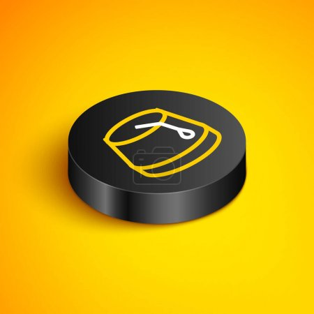 Illustration for Isometric line Turkish hat icon isolated on yellow background. Black circle button. Vector - Royalty Free Image