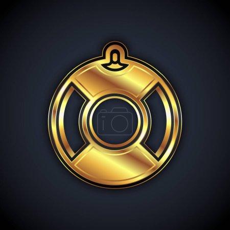 Illustration pour Icône Bouée de sauvetage en or isolée sur fond noir. Symbole de ceinture de sauvetage. Vecteur. - image libre de droit