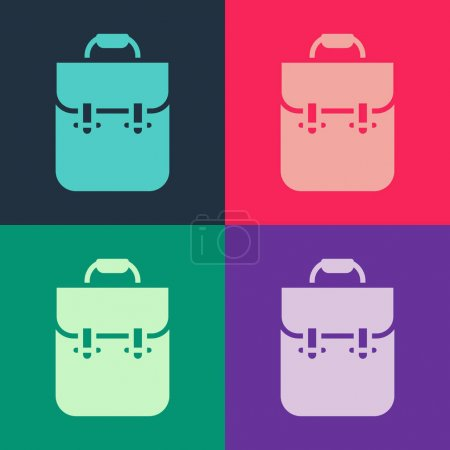 Illustration for Pop art School backpack icon isolated on color background. Vector. - Royalty Free Image