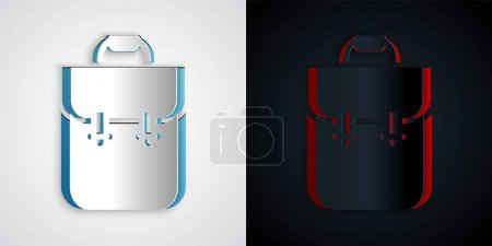 Illustration for Paper cut School backpack icon isolated on grey and black background. Paper art style. Vector. - Royalty Free Image