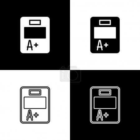 Illustration for Set Exam sheet with A plus grade icon isolated on black and white background. Test paper, exam, or survey concept. School test or exam. Vector. - Royalty Free Image
