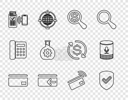 Illustration for Set line Credit card Shield with check mark Magnifying glass and dollar Cash back POS terminal Bioengineering Contactless payment and Voice assistant icon. Vector. - Royalty Free Image