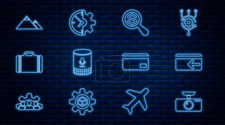 Illustration for Set line Car DVR Cash back Magnifying glass and dollar Voice assistant Suitcase for travel Mountains Credit card and Clock gear icon. Vector. - Royalty Free Image