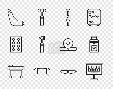 Illustration for Set line Stretcher Eye test chart Medical digital thermometer protective mask Inhaler otoscope tool Safety goggle glasses and Organ container icon. Vector. - Royalty Free Image