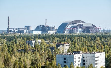 Photo for View from roof of 16-storied apartment house in Pripyat town, Chernobyl Nuclear Power Plant Zone of Alienation, Ukraine - Royalty Free Image