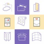 Flat line icons of Print design products from pamphlet and booklet to plastic card calendar pattern envelopes bags and package