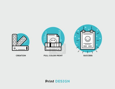 Creation, full color print, success flat illustration Set of line modern icons for print design business and graphic design