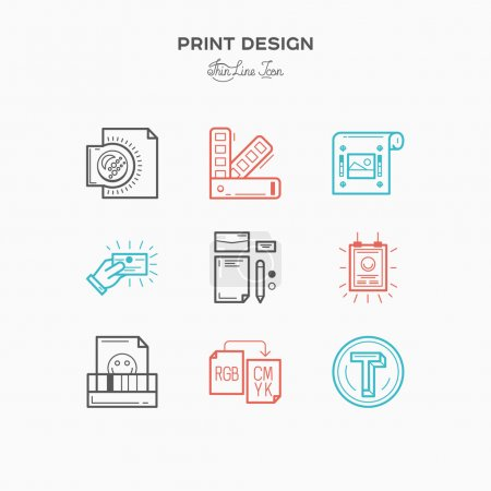 Flat line icons of Print design process, from color selection and coloring test to color printing, printing on t-shirts and print corporate identity.