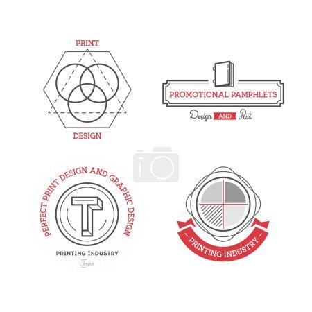 Printing industry Logos, Badges and Labels Design Elements set. Print, design, prepress vintage style objects retro vector illustration.