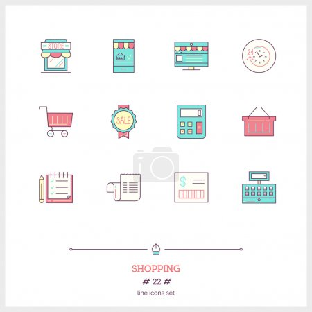 Color line icon set of Shopping, Store objects and...
