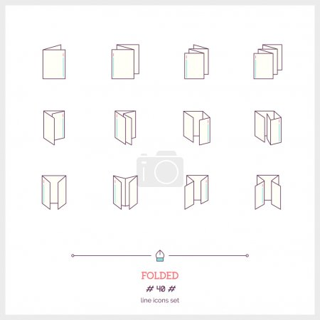 Color line icon set of Folded objects. Scoring scheme booklets,