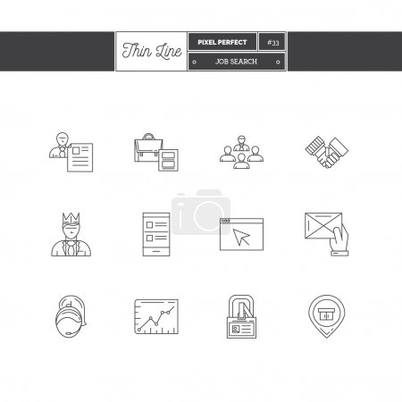 Illustration for Line Icons Set of Job Search and Human Resources objects, tools and elements. Team work, co-work, interview, best choice, app resourse, best deal, career. Logo icons vector illustration - Royalty Free Image