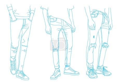 Illustration pour Collection mode de jeans, Vêtements denim, Illustration vectorielle - image libre de droit