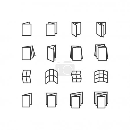 Printing icons. Folded icons. Scoring scheme booklets icons. Design icons.