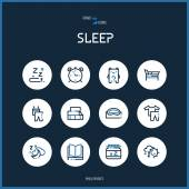 Line colorfuul icons set collection of sleeping signs for design