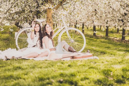 Picnic in cherry blossom with bike