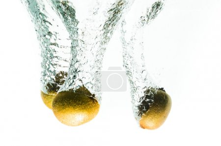 kiwi fruits fall deeply under water