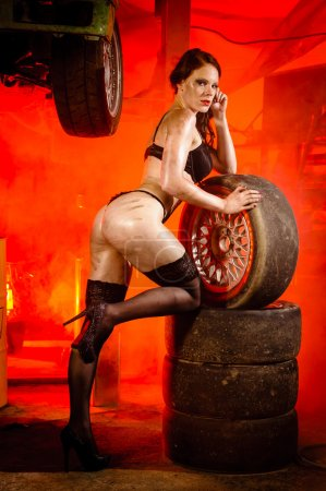 Girl with tires