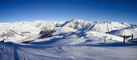 Photo for Stunning view of skiing resort in Alps. Livigno, Italy - Royalty Free Image