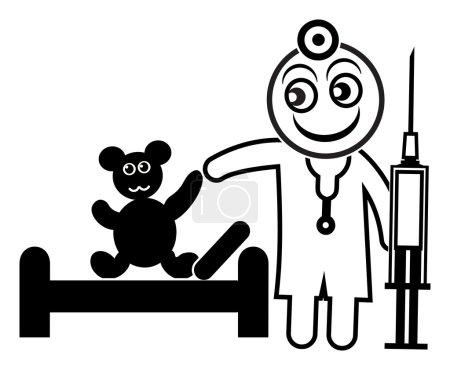 Photo pour Ours malade soigné par un médecin tenant des seringues, aide pédagogique pour les enfants surmontant la peur de l'hôpital et du médecin - image libre de droit