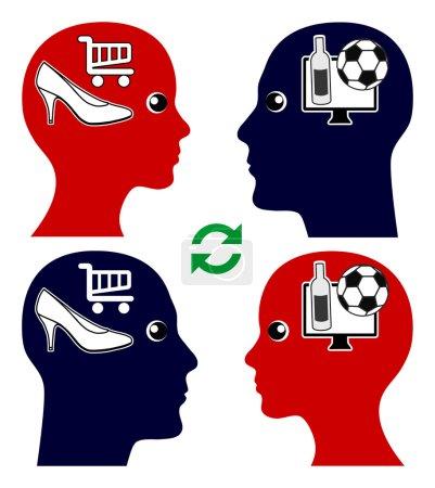 Photo pour L'homme et la femme essaient de comprendre le point de vue et les désirs des autres, le football contre le shopping - image libre de droit