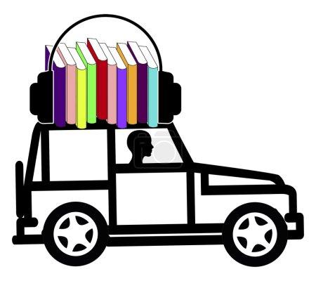 Photo pour Signe conceptuel d'une conductrice qui utilise le temps en écoutant des livres parlants - image libre de droit