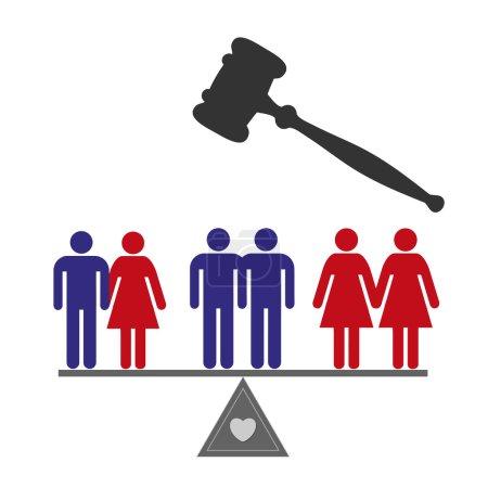 Photo pour Signe de la notion de mariage l'équité pour tous les couples - image libre de droit