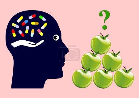 Photo pour Compléments alimentaires tels que des pilules de vitamines ou tout simplement des fruits pour alimentation saine - image libre de droit