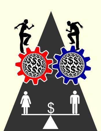 Photo pour Signe de concept voter pour paiement égal pour les hommes et les femmes - image libre de droit