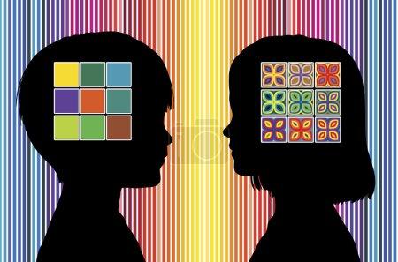 Photo pour Garçon et les filles développent différentes préférences de couleur dans la petite enfance - image libre de droit