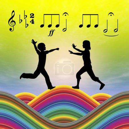 Photo pour La musique doit être intégrée dans l'éducation de la petite enfance pour le développement - image libre de droit