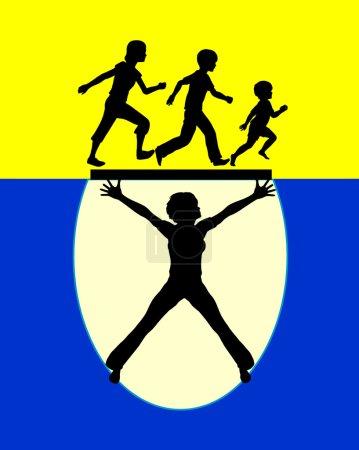 Photo pour Signe de la notion d'une mère forte, protéger leurs enfants contre les risques dans l'éducation de la petite enfance - image libre de droit