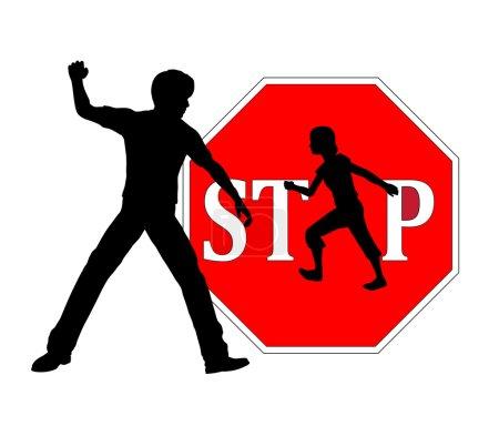 Photo pour Signe de concept contre les châtiments corporels des enfants à la maison ou à l'école - image libre de droit