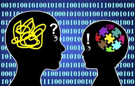 Photo pour Signe de la notion de kid ordinateur surpassant sa mère dans la connaissance de l'ordinateur - image libre de droit