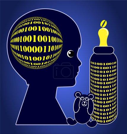 Photo pour Signe conceptuel de l'enfant grandissant avec des ordinateurs dès le premier jour - image libre de droit