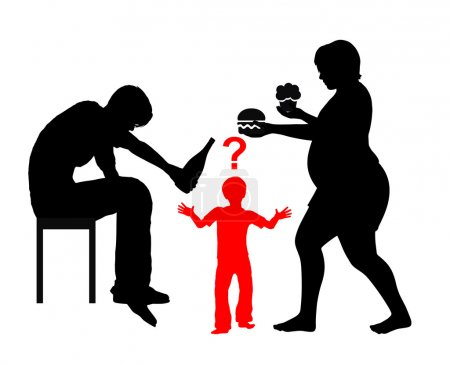 Photo pour Enfants sont adapter la nourriture et les habitudes de consommation de leurs père et mère dans l'éducation de la petite enfance - image libre de droit